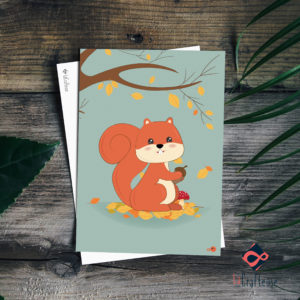 carte postale écureuil mignon fond vert illustratrice artisan graphiste