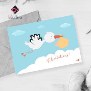 carte postale naissance cigogne bébé mixte