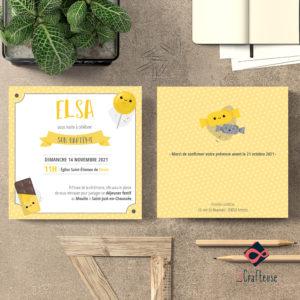 invitation bapteme thème gourmandise jaune et gris