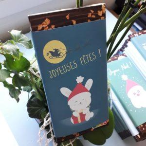 plaquette chocolat noel personnalisé lapin cadeau artisanal